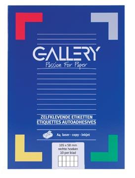 Gallery étiquettes blanches, ft 105 x 58 mm (l x h), coins carrés, boîte de 1.000 étiquettes