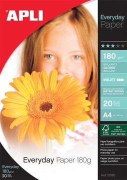 Apli papier photo Everyday ft A4, 180 g, paquet de 20 feuilles