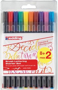 Edding brushpen 1340, set de 10 pièces en couleurs assorties (8 + 2 gratuit)