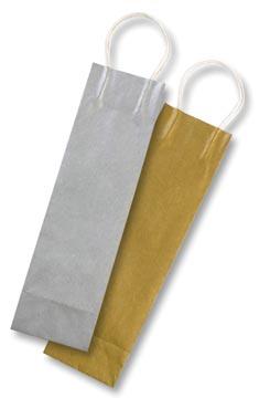 Folia sac papier kraft pour bouteilles, 110 g/m², or et argent, paquet de 6 pièces