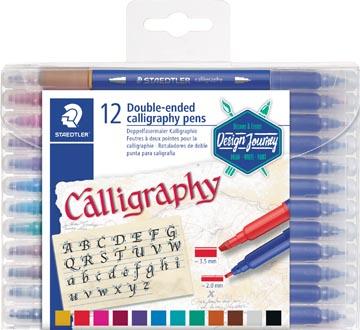 Staedtler feutre calligraphie Calligraph duo, boîte de 12 pièces en couleurs assorties