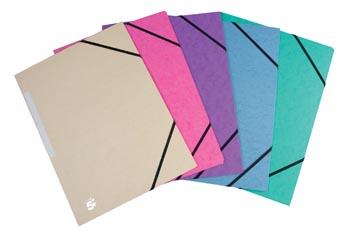 Pergamy chemise à élastiques, à 3 rabats, couleurs pastel assorties, paquet de 10