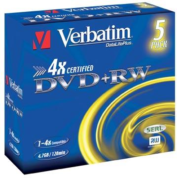 Verbatim DVD réinscriptible, boîte de 5 pièces, emballées individuellement (Jewel Case)