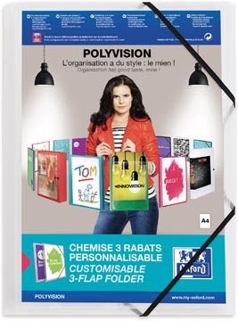 OXFORD Polyvision farde à rabats et élastiques, format A4, en PP, transparent