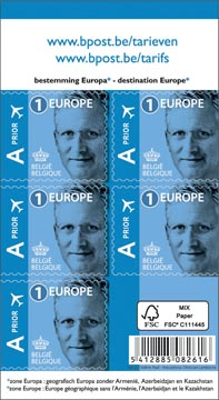BPost timbre tarif 1 Europe, Roi Philippe, blister de 50 pièces, prior