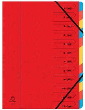 Exacompte Trieur-classeur 12 compartiments, rouge