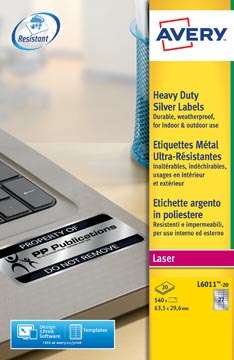 Avery L6011-20 étiquettes ultra résistantes ft 63,5 x 29,6 mm (b x h), 540 étiquettes, argent