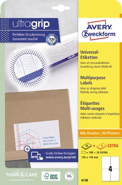 Avery Zweckform 6120, étiquettes universelles, Ultragrip, blanc, 25+5 feuilles, 105 x 148 mm