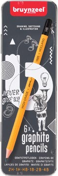 Bruynzeel crayon, boîte en metal de 6 pièces en duretés assorties