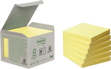 Post-it Notes récyclé, ft 76 x 76 mm, jaune, 100 feuilles, pacquet de 6 blocs
