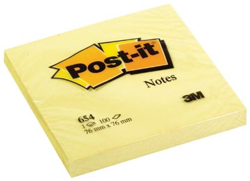 Post-it Notes, ft 76 x 76 mm, jaune, bloc de 100 feuilles