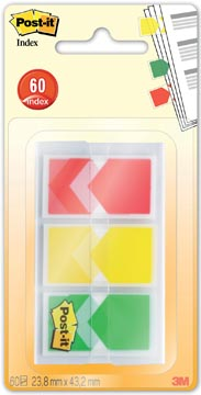 Post-it Index Flèches, ft 23,8 x 43,2 mm, blister de 3 x 20 onglets, geel, rood, groen