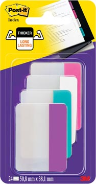 Post-It Index Strong, ft 38 x 50,8 mm, couleurs assorties, 6 tabs par couleur