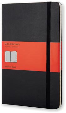 Moleskine carnet d'adresse, ft 13 x 21 cm, ligné, couverture solide, 240 pages, noir