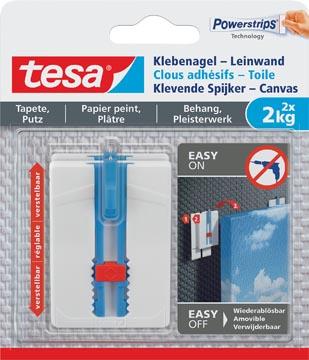 Tesa Clou adhésif Toile, supporte 2 kg, papier peint et plâtre, blanc, 2 clous et 6 languettes