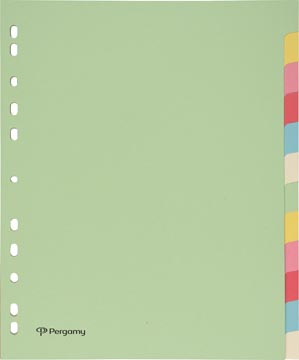 Pergamy intercalaires, ft A4 maxi, perforation 11 trous, carton, couleurs assorties pastel, 12 onglets