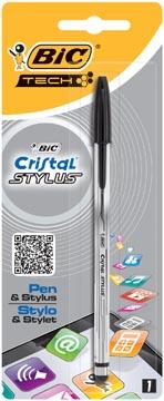 Bic stylo bille et Stylus Cristal 2 en 1 noir, blister de 1 pièce