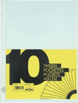 Atoma pochettes tranparantes, pour cahiers A4+, perforation à 11 trous, jeu de 10 pièces
