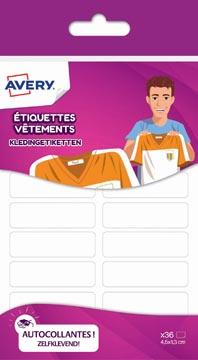 Avery Family étiquettes vêtements, ft 4,5 x 1,3 cm, blanc, sachet brochable avec 36 étiquettes
