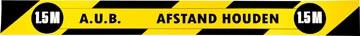 Gallery autocollant, Tenez 1,5 mètres de distance, ft 80 x 8 cm, jaune/noir