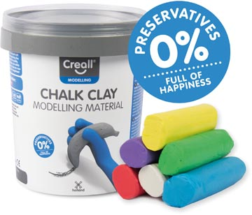 Creall Pâte à modeler pour craie de trottoir, happy ingredients, seau de 6 colours