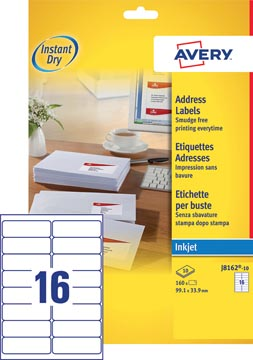 Avery J8162-10 étiquettes adresse ft 99,1 x 33,9 mm (b x h), 160 étiquettes, blanc