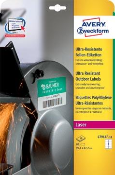Avery L7914-10 étiquettes ultra résistantes ft 99,1 x 67,7 mm (b x h), 80 étiquettes, blanc