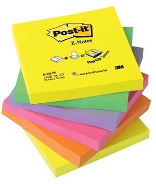 Post-it recharge Z-Notes, ft 76 x 76 mm, couleurs assorties neon, pacquet de 6 blocs