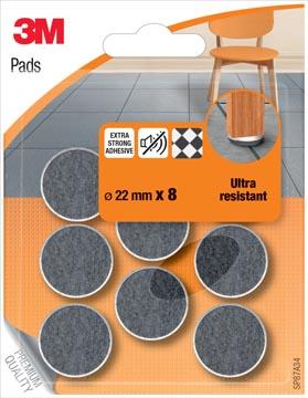 3M Pads, Ultra Resistant, diamètre de 22 mm, blister de 8 pièces