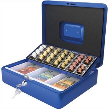 Acropaq coffret à monnaie avec trieur de pièces, ft 30 x 24 x 9 cm, bleu
